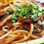 [ランパス9店目]お昼に焼肉定食。上人橋通りのサウスガーデン内、真っ赤なお店の警固の「梟(ふくろう)」